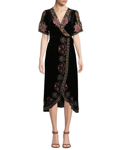 Joanna Velvet Wrap Dress