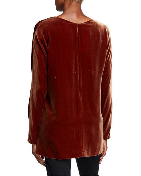 Lafayette 148 New York Plus Size Thurmen V-Neck Long-Sleeve Velvet Blouse