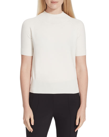 Lafayette 148 New York Cropped Mock-Neck Short-Sleeve Sweater