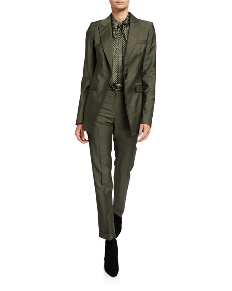 Lafayette 148 New York Plus Size Clinton Gateway Cloth Cuffed Pants w/ Pickstitch Detail