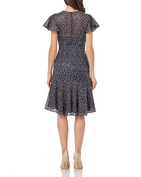 Carmen Marc Valvo Infusion Flutter-Sleeve High-Low Flounce-Hem Threadwork Dress