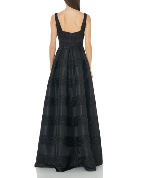 Image 2 of 4: Carmen Marc Valvo Infusion Eyelash Striped Square-Neck Sleeveless Gown with Inverted Pleats