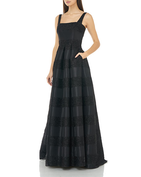 Image 3 of 4: Carmen Marc Valvo Infusion Eyelash Striped Square-Neck Sleeveless Gown with Inverted Pleats