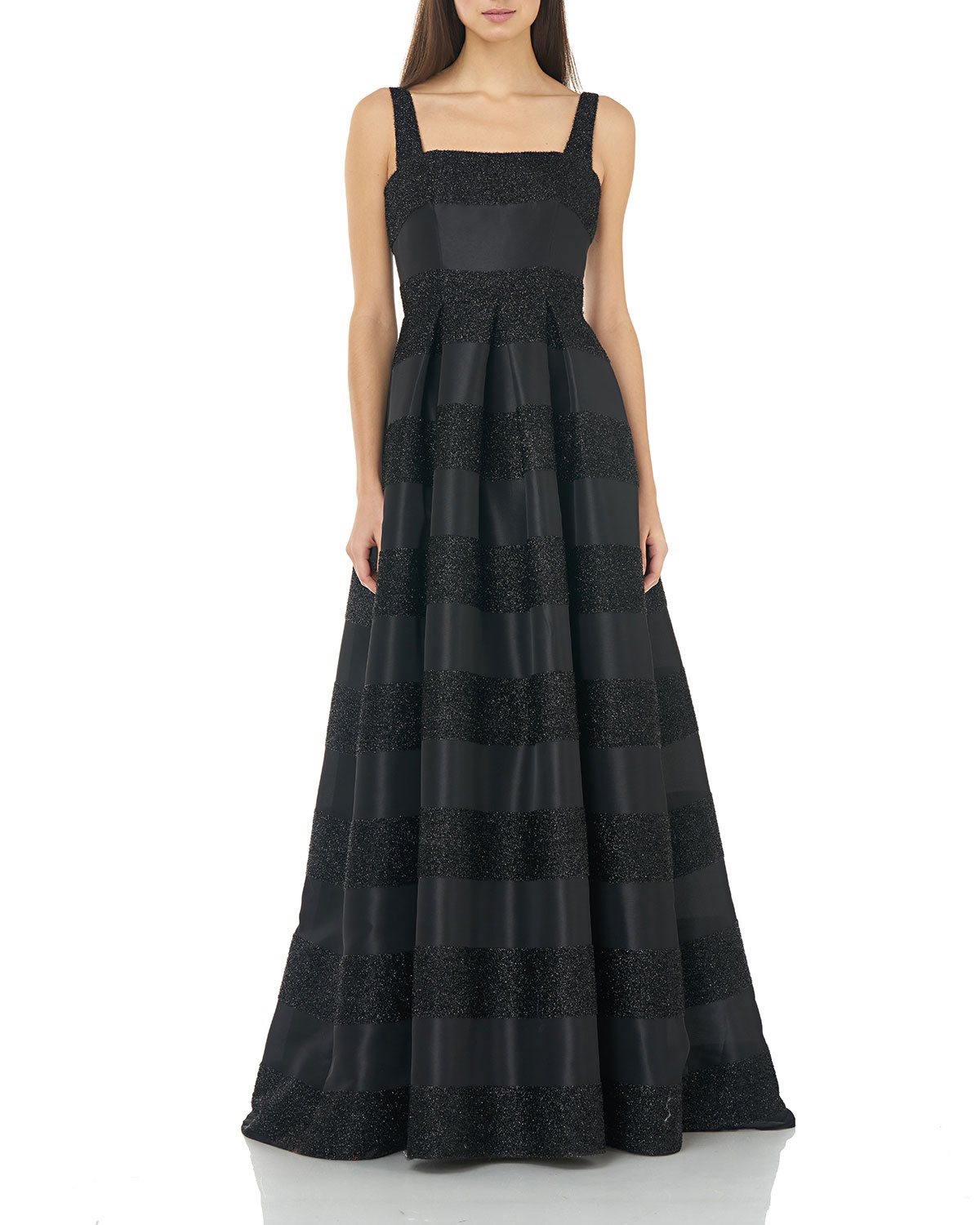 Carmen Marc Valvo Infusion Eyelash Striped Square-Neck Sleeveless Gown with Inverted Pleats