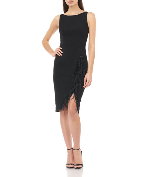 Carmen Marc Valvo Infusion Sleeveless Crepe Sheath Dress with Feather Details