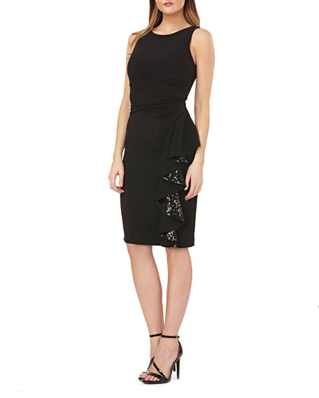 Carmen Marc Valvo Infusion Sleeveless Crepe Dress with Sequin Lined Side Ruffle