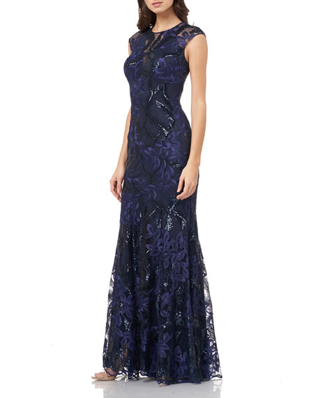 Carmen Marc Valvo Infusion Sequin Embroidered Cap-Sleeve Gown