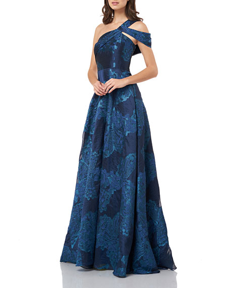 Carmen Marc Valvo Infusion One-Shoulder Jacquard A-Line Gown with Cold Shoulder Detail