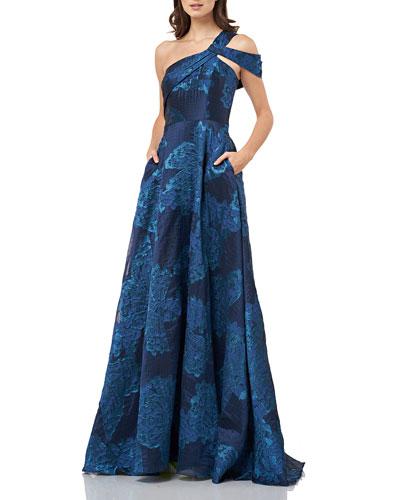 One-Shoulder Jacquard A-Line Gown with Cold Shoulder Detail