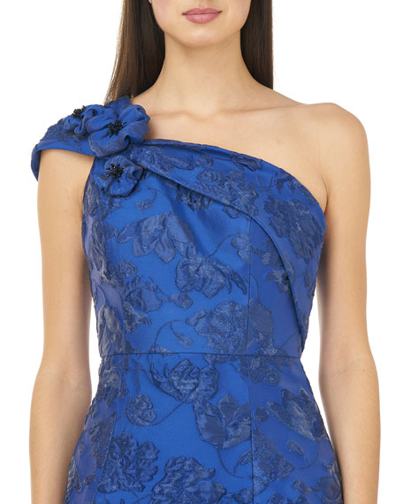Carmen Marc Valvo Infusion Jacquard One-Shoulder Cocktail Dress
