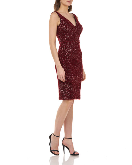 Carmen Marc Valvo Infusion Crunchy Sequin V-Neck Sleeveless Sheath Dress