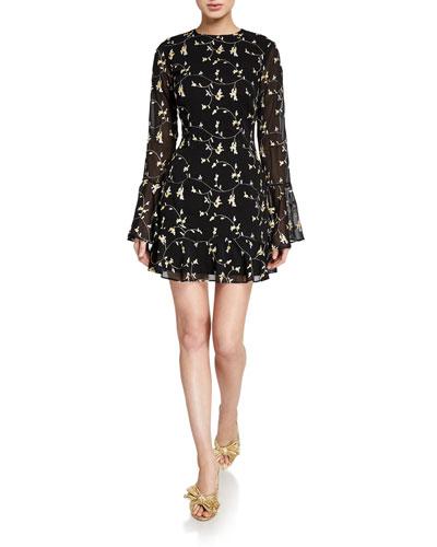 Night Spark Long-Sleeve Mini Dress