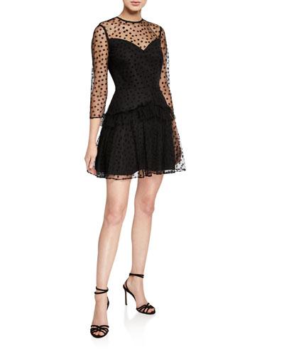 Slow Tango Long-Sleeve Mini Dress