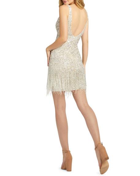 Mac Duggal Sequin & Bugle Beaded Fringe Short Dress