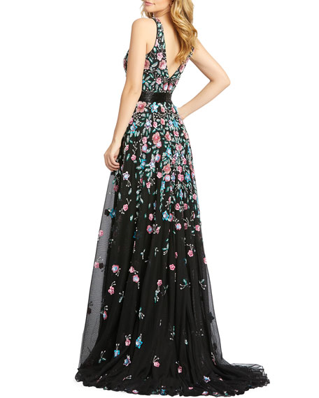 Mac Duggal 3D Sequin Applique Floral V-Neck Sleeveless Gown