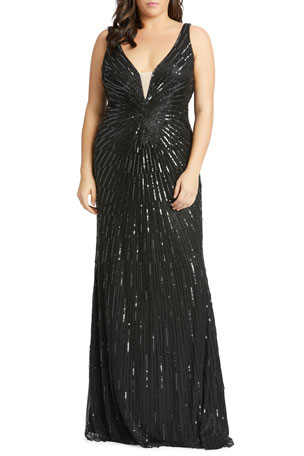 Mac Duggal Plus Size Starburst Sequin Deep V-Neck Sleeveless Gown