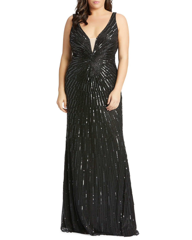 Mac Duggal Plus Size Starburst Sequin Deep V-Neck Sleeveless Gown | Neiman  Marcus