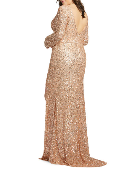 Image 2 of 2: Mac Duggal Plus Size Sequin Long-Sleeve Double V-Neck Gown w/ Slit