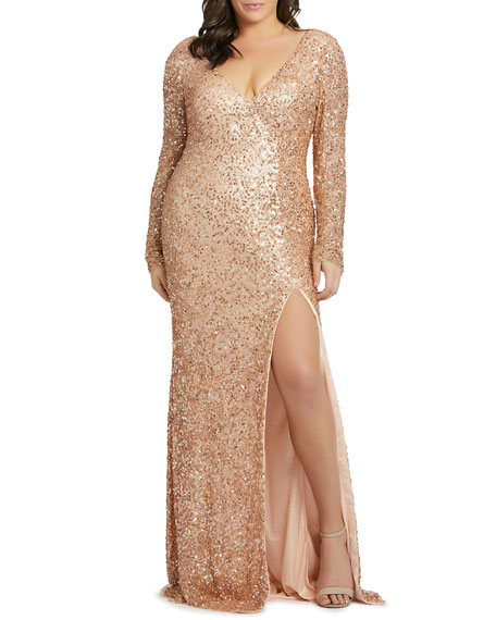 Image 1 of 2: Mac Duggal Plus Size Sequin Long-Sleeve Double V-Neck Gown w/ Slit