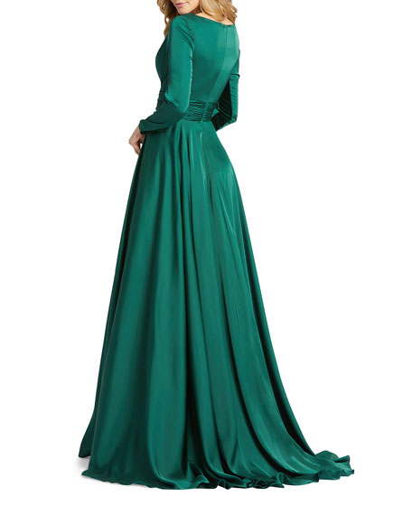 Image 2 of 2: Mac Duggal V-Neck Long-Sleeve Satin Thigh-Slit Gown