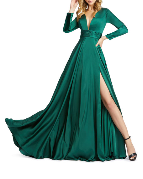 Image 1 of 2: Mac Duggal V-Neck Long-Sleeve Satin Thigh-Slit Gown