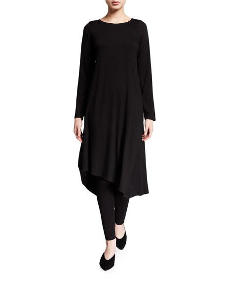Eileen Fisher Petite Jersey Asymmetrical Long-Sleeve Midi Dress