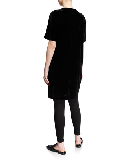 Eileen Fisher Petite Short-Sleeve Velvet Shift Dress