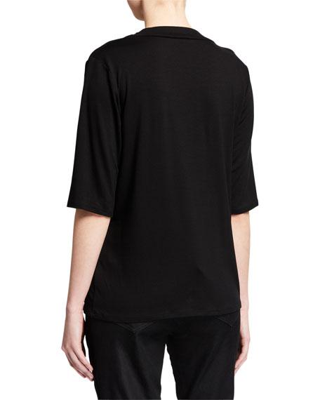 Eileen Fisher Drape-Neck Elbow-Sleeve Lyocell Jersey Top