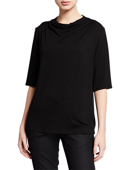 Eileen Fisher Tops DRAPE-NECK ELBOW-SLEEVE LYOCELL JERSEY TOP