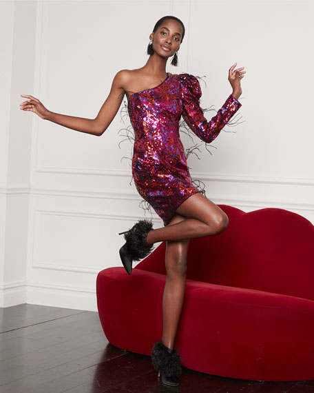 Image 2 of 4: Ombre Sequin One-Shoulder Mini Dress w/ Feathers