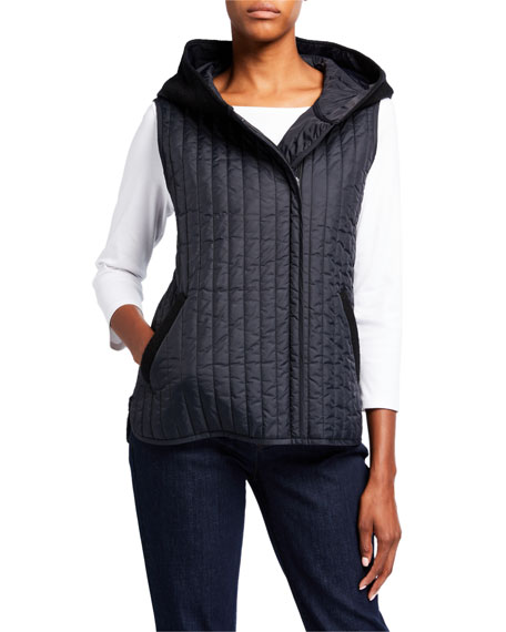 Eileen Fisher Quilted Nylon Hooded Shirttail Vest