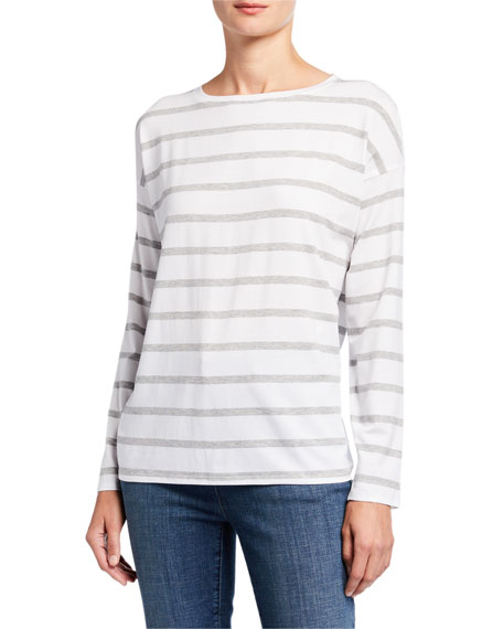 Eileen Fisher Striped Lyocell Jersey Long-Sleeve Box Top