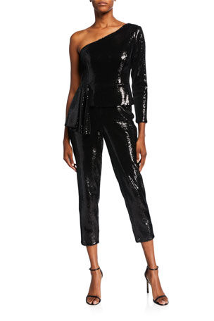 Aidan by Aidan Mattox Sequin One-Shoulder Cropped Peplum Jumpsuit