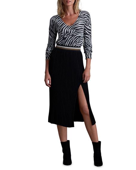 Bailey 44 Colin Ribbed Side Slit Midi Skirt w/ Metallic Waistband