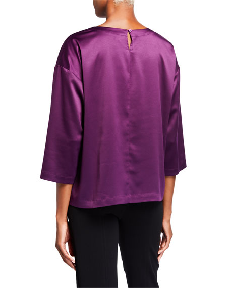 Eileen Fisher Petite Crewneck 3/4-Sleeve Satin Top