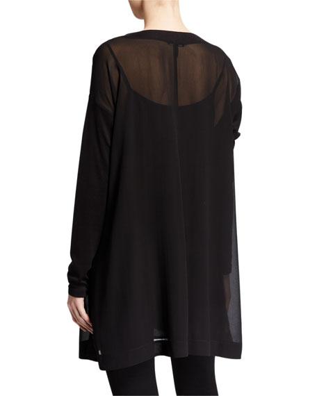 Eileen Fisher Sheer Silk Long-Sleeve Tunic w/ Slip