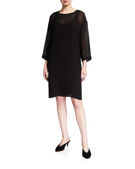 Eileen Fisher Dresses BALLET NECK 3/4-SLEEVE SHEER SILK DRESS
