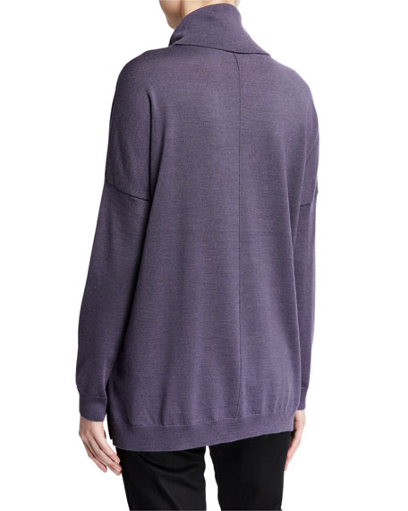 Eileen Fisher Petite Fine Merino Turtleneck Box Top