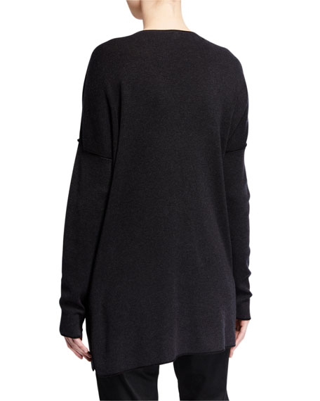 Eileen Fisher Deep V-Neck Lyocell/Organic Cotton Tunic w/ Tipping