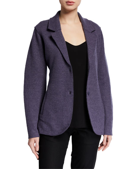 Eileen Fisher Lightweight Boiled Wool Two-Button Notch Collar Blazer