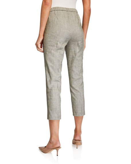 Theory Cropped Linen Basic Pull-On Pants