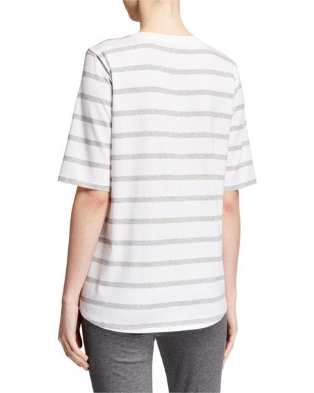 Eileen Fisher Striped Elbow-Sleeve Lyocell Jersey Tee