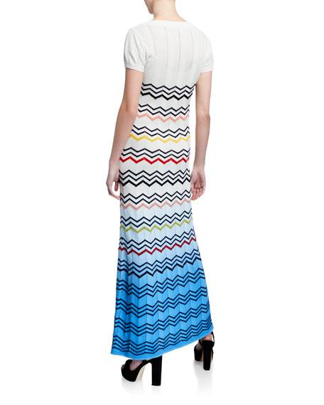 M Missoni Zigzag Ombre Cap-Sleeve Long Dress