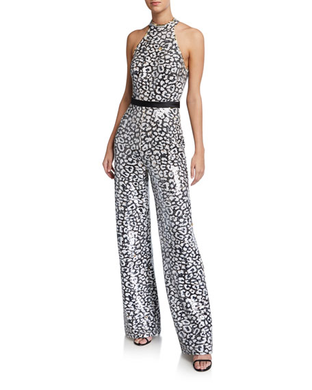 Jovani Animal-Print Reverse Sequin Halter Jumpsuit