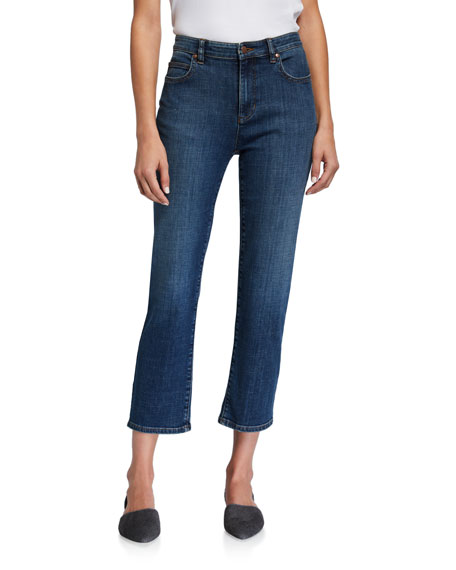Eileen Fisher Petite Organic Cotton High-Waist Straight-Leg Cropped Jeans