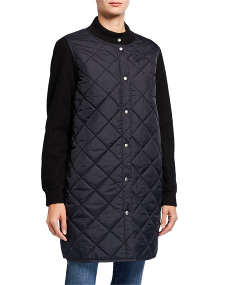 Eileen Fisher Petite Quilted Nylon Button-Front Wool Sleeve Long Jacket