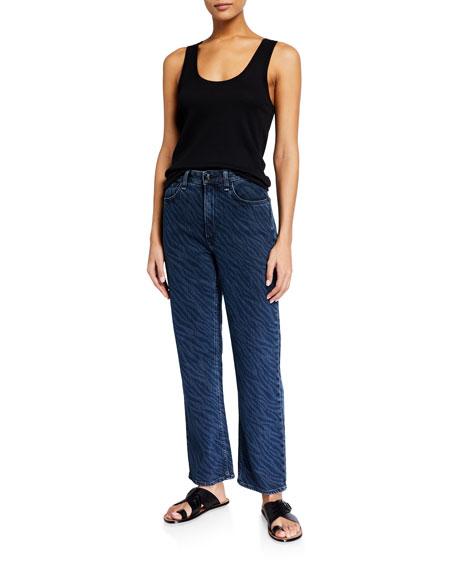 Rag & Bone Ruth Super High-Rise Straight Zebra-Print Jeans