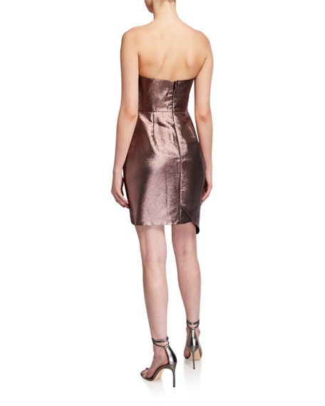 Image 2 of 2: Aidan by Aidan Mattox Metallic Jacquard Strapless Side Bow Asymmetrical Dress