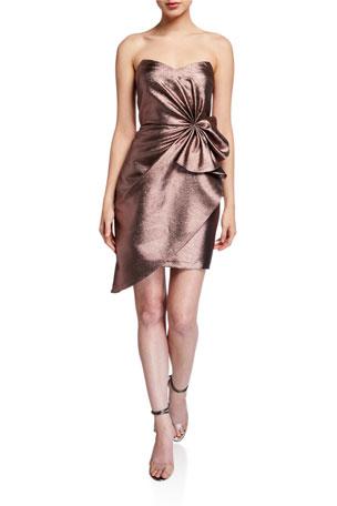 Aidan by Aidan Mattox Metallic Jacquard Strapless Side Bow Asymmetrical Dress