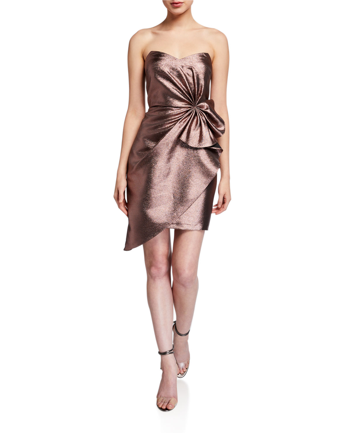 Aidan by Aidan Mattox Metallic Jacquard Strapless Side Bow Asymmetrical Dress